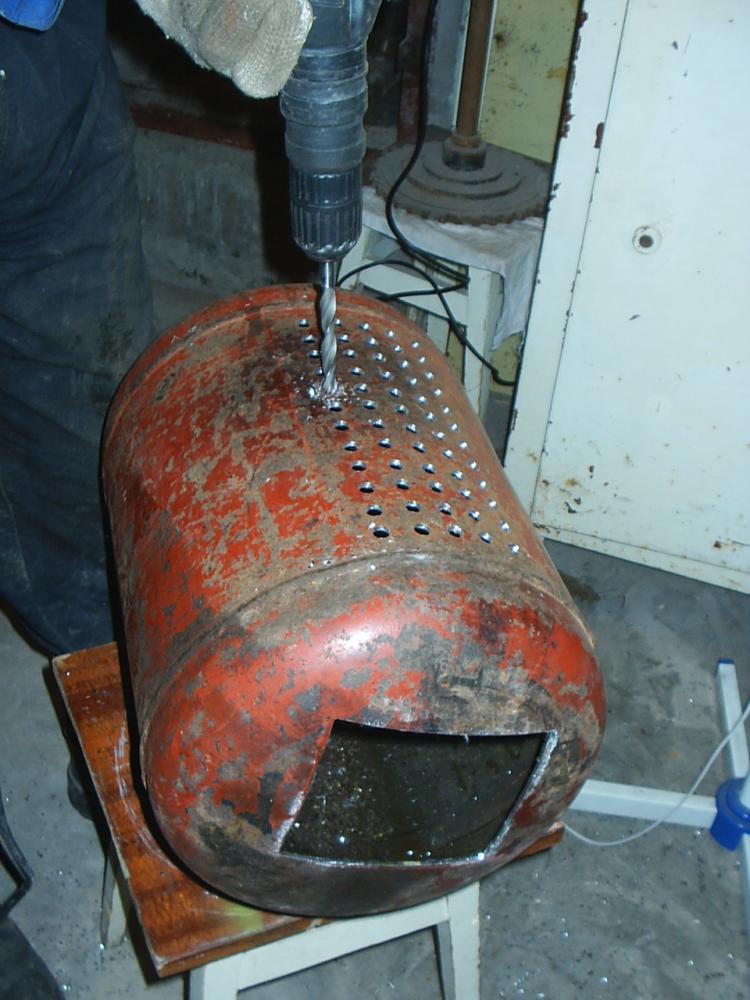 Печка из огнетушителя своими руками