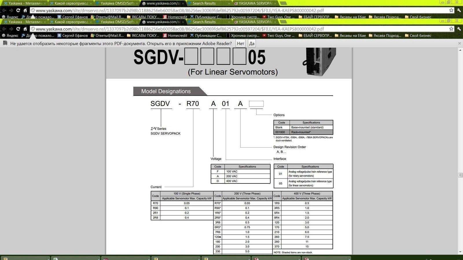 YASKAWA SERVOPACK SGDV-2R8A01A 400W
