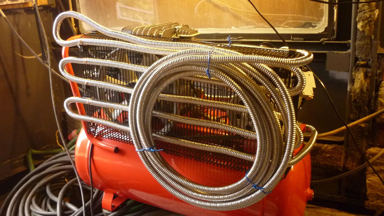 монтаж гофры/холодильника на  решетке вентилятора