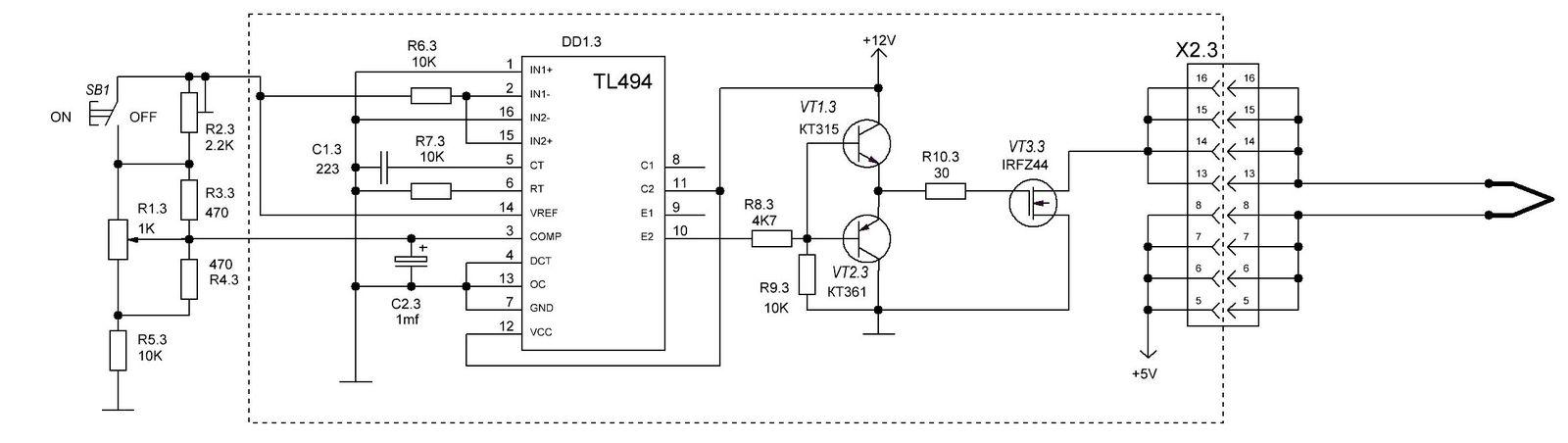 схема регулятора температуры жала выжигателя