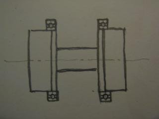 Шпиндель на двух открытых патронах, распорка малого диаметра