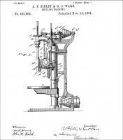Конструкция Camelback Drill Press, патент 462,884, A.P.Sibley,  G.O. Ware - South Band, IND, Nov. 10, 1891.jpg