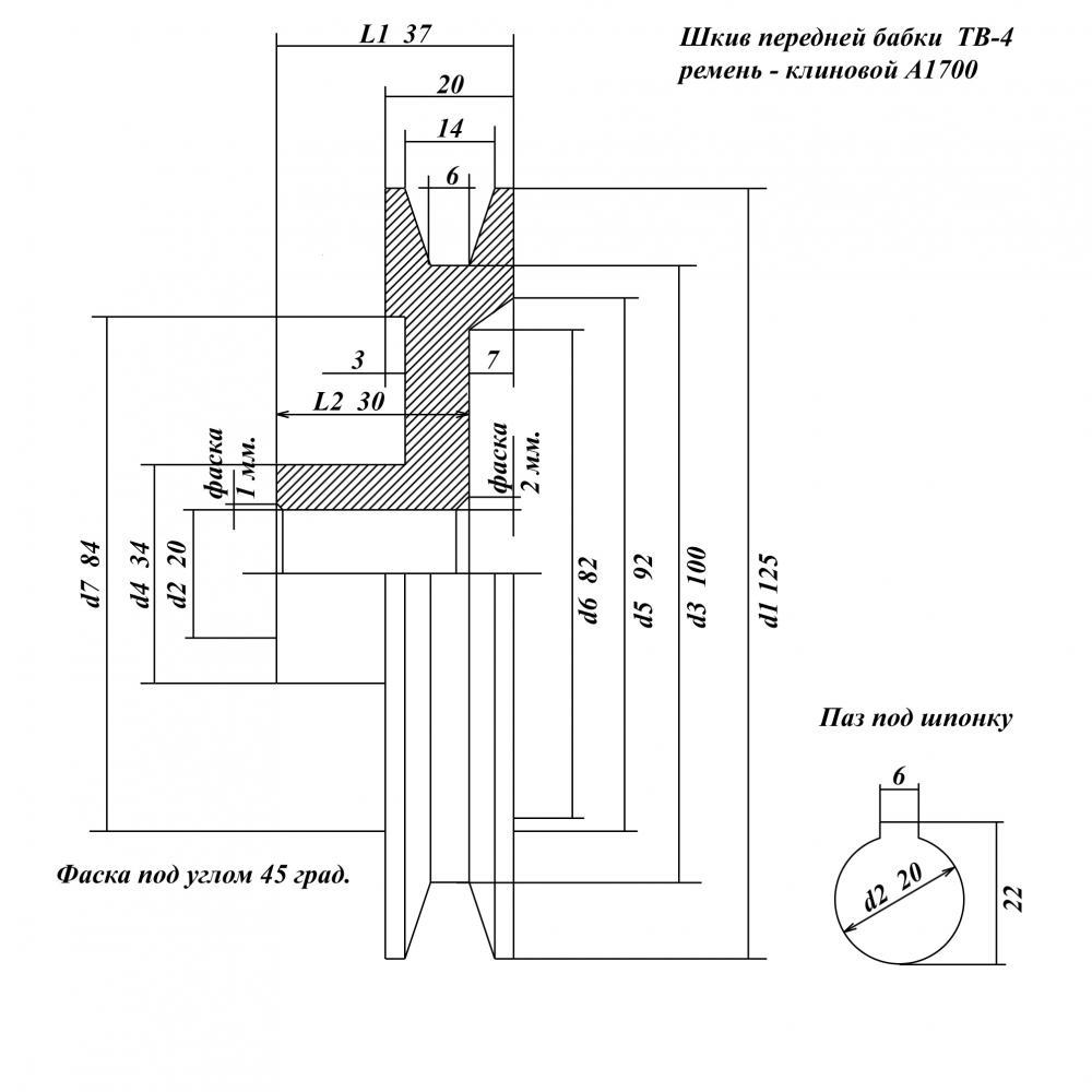 Размеры шкива схема